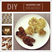 DIY Valentines Day Breakfast Heart Shaped pancakes bacon and cinnamon rolls