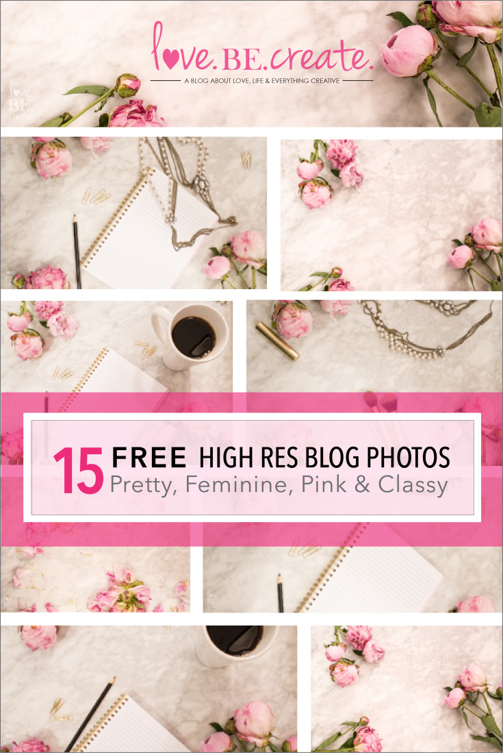 15 FREE high res pretty pink feminine classy blog photos