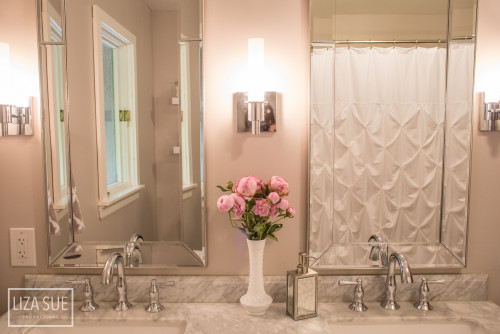 Bathroom makeover on a dime grey white carrara marble luxury-19